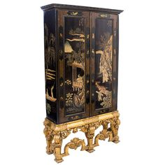 Chinoiserie - Coromandel Lacquer and GIltwood Drinks Cabinet  European  Circa 1920  Chinoiserie Lacquer Cabinet with Coromandel Panels on a Carolean Style Baroque Giltwood Stand c.1920 (panels 19thC)    The Cabinet is finely decorated with Chinese folk and animal motifs.
