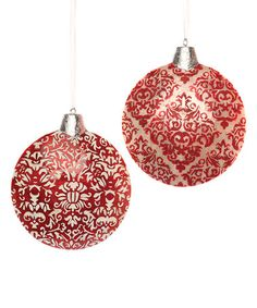 Red Damask Ornament - Set of Two #zulily #zulilyfinds