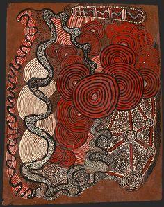 Shorty Lungkata Tjungurrayi Pintupi c.1920–87 Men in a Bushfire 1972 enamel paint on composition board 64.2 x 50.1 cm National Gallery of Victoria, Melbourne