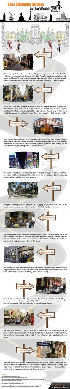 Shopping is a fun activity. No matter whether it is done online or offline. This infographic will let you know some of the best shopping streets in the world.