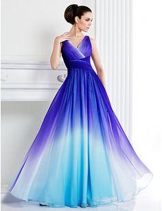 couture vestito da sera convenzionale ritorno a casa ts - una linea v-collo pavimento-lunghezza chiffon del 2015 a €117.32