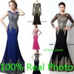 Real Photo Long or Short Sleeve Mermaid Prom Party Occasion Dresses 2016 Gold Embroidery in Stock Cheap Trumpet Arabic Dress Evening Wear
