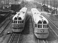 """These twin Zephyrs were the marvel of their age, entering service April 21, 1935 between Chicago and Minneapolis-St. Paul.  Using a revolutionary diesel engine/electric motor - designed by Ohio inventor, Charles Kettering - these trains traveled cleanly and quietly at 100 mph and are the grandparents of today's DMUs.  Learn more about these technological marvels when PBS tells their story in the upcoming film, """"Streamliners,"""" on PBS history series, American Experience."""
