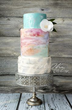 Watercolour Love - Cake by Hazel Wong Cake Design - CakesDecor Beautiful Wedding Cakes, Gorgeous Cakes, Pretty Cakes, Amazing Cakes, Birch Wedding Cakes, Rustic Wedding, Watercolor Wedding Cake, Pastel Watercolor, Bolo Floral