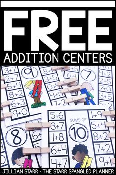 FREE Addition Centers to help your students practice their addition math facts, strategies, and build fact fluency. A mix of games, logic puzzles, and hands on activities that are perfect for… Centers First Grade, Second Grade Math, First Grade Addition, 1st Grade Math Games, Free Kindergarten Math Games, Grade 1, Envision Math Kindergarten, Free Math Games, Counting Games