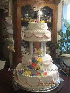 Coolest Floral Wedding Cake... This website is the Pinterest of birthday cake ideas