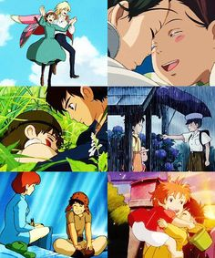 Wizard Howl and Sophie Hatter, Haku and Chihiro, San the Wolf-Girl and Ashitaka, Satsuki and Kanta, Princess Nausicaä and Asbel, Ponyo and Sosuke