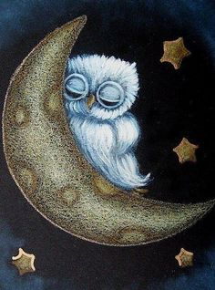 Tiny Baby Blue Owl Sleeping in The Moon by Artist Cyra R. Owl Pictures, Owl Always Love You, Beautiful Owl, Owl Art, Cute Owl, Art And Illustration, Art Portfolio, Stars And Moon, Fantasy Art
