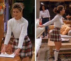 Rachel from friends! Cropped sweater with red plaid skirt and single stripe knee high socks❤️