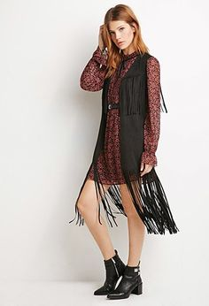 Longline Faux Suede Fringed Vest | LOVE21 | #f21contemporary