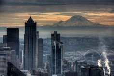 Seattle and Mt Rainier