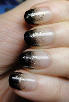 black and nude gradient nails with shimmer