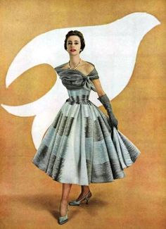 Jacques Fath L'Officiel March 1954  - like the dress, but where is her other arm?