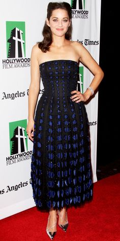 Marion Cotillard wowed in a black and blue Christian Dior design, diamond Chopard jewels and pointy-toe pumps at the Hollywood Film Awards.