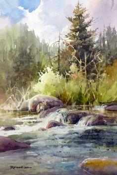 Duck Creek Plein Air , Watercolor painting of Duck Creek on Cedar Mountain - Watercolor Paintings by Roland Lee