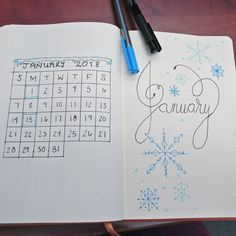 Bullet journal monthly cover page, January cover page, snowflake drawing, monthly calendar, bullet journal grid calendar, icicle border. @itsmadison_eh