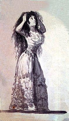 Su relación con la duquesa de Alba inspiró sus sátiras sobre la inconstancia de la mujer en el amor y su impiedad con los amantes.Dibujo del Álbum A de la Duquesa peinándose. Tinta china lavada