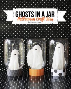 EASY TUTORIAL - Halloween Craft: Ghosts In A Jar - Aren't they so cute?  It's like you caught a ghost and am keeping it in jar like you might a bug.