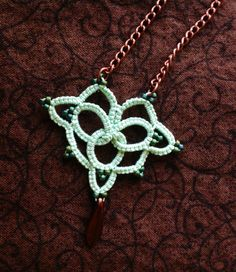 Mint Tatted Pendant - Needle Tatted