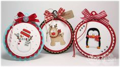 adorable christmas tags....oh how I love these...I think I`ll have to make some with my spin on it. :0)  made some round ones with the scallop with different stamps inside :)