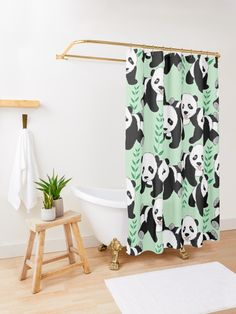 """Panda Bears Graphic Pattern"" Shower Curtain by ironydesigns Bear Graphic, Panda Bears, Custom Shower Curtains, Graphic Patterns, Sell Your Art, Panda Bear, Pandas, Panda"