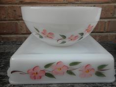 Beautiful Set- Fire King Peach Blossom Bowl & Square Baking Dish. $20.00, via Etsy.