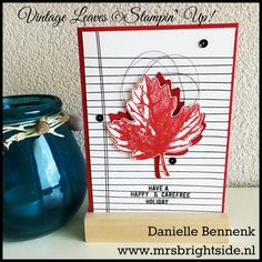 Vintage Leaves, Writing Notes & Thoughtful Banners - Real Red, Basic Black & Whisper White - Black metallic thread