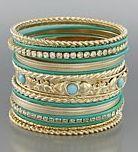 Turquoise Stackable bracelets.