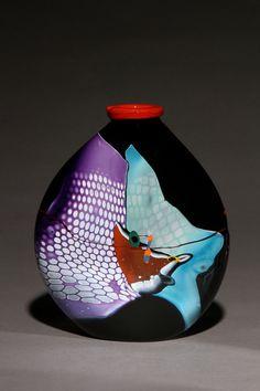 Black Vase with Lip | James Wilbat Glass Studio