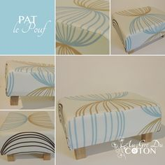 PAT le Pouf #patlepouf  Parce que patapouf ou pouf à pattes...  Patron : Au Gré Du Coton Dimension : L38cm x l28cm x h18cm (dont 10cm de mousse) Composition : Coton / Bois et mousse Coloris : Beige, bleu et chocolat