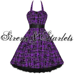 LADIES NEW HEARTS & ROSES LONDON PURPLE TARTAN TATTOO PUNK EMO PROM PARTY DRESS Preview