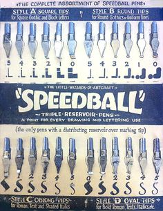 "Speedball Text Book"" booklet written by Ross F.George, 1941.  A vintage set of Speedball pen nibs."