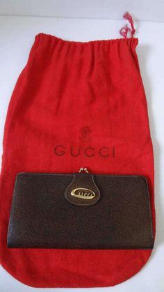 80c59a3e96ae Authentic Vintage GUCCI Cursive logo pigskin leather organizer long wallet  clutch w/dustbag 1970's GOOD