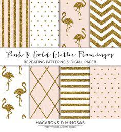 Blush Pink & Gold Glitter Flamingo  - Seamless Pattern - JPG, Vector, PNG - Digital Paper Scrapbooking