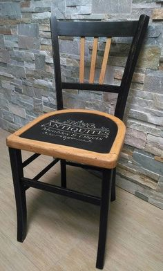 Décoration furniture makeover chair bistrot old black wood stencil antiques, mans, sarthe Yüksel Quality Professional Services These photo. Chair Makeover, Furniture Makeover, New Furniture, Painted Furniture, Rustic Furniture, Antique Furniture, Furniture Plans, Furniture Design, Outdoor Furniture