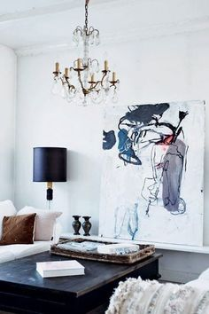 Luxe home decor | chandelier, art