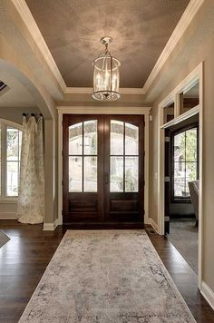 62 ideas farmhouse foyer lighting dream homes for 2019 House Design, House, Home, House Plans, New Homes, Farmhouse Foyer, Entry Doors, Foyer Lighting Fixtures, Craftsman House