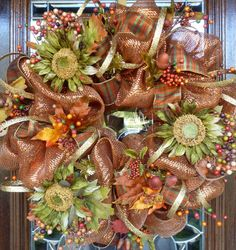 a deco mesh fall wreath...