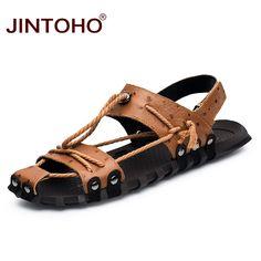 741eaaf91 JINTOHO 2017 Men Genuine Leather Sandals Shoes Closed Toe Leather Male  Sandal Summer Beach Men Shoes Flats Men Sandals