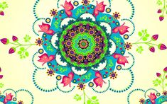 Mandala Flowers Wallpaper for Widescreen Desktop PC 1920x1080 Full HD