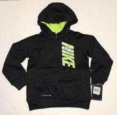 9e567185adb283 Boys Youth Nike 1 2 Zip Hoodie Sweatshirt Black Volt Size 5 86a273-ke4 for  sale online