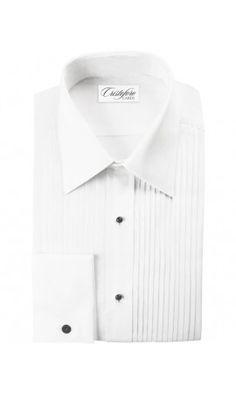 Angelo White Pleated Laydown Tuxedo Shirt