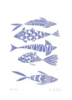Vissen - een originele Linosnede afdrukken (niet een reproductie)  Deze linosnede werd gekenmerkt op de voorpagina van Etsy!  Na het trekken van de plaat lino, hand ik snijden en inkt van het met de hand, dan het lino-blok wordt gezet naar een pers op het papier.  Hand gedrukt en hand ondertekend in potlood door mijzelf, in mijn atelier. Papier van formaat A4 maatregel 12 x 8,50 inch. Laatste foto, andere linosneden beschikbaar in mijn ETSY-winkel.  Ik hou van minimale rechtstreekse beelden…