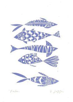 Linoleografia pesci  incisione stampa originale  blu Art