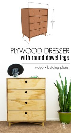 Simple DIY chest of drawers located - Beginners woodworking projectsSimple DIY chest of drawers located - Beginners woodworking projects - Beginner Diy EASY chest of drawers will Plywood chest of drawers with dowel legs Video Diy Dresser Plans, Diy Furniture Plans, Small Furniture, Woodworking Furniture, Furniture Projects, Wood Projects, Woodworking Projects, Plywood Furniture, Furniture Buyers