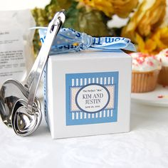 Gourmet cupcake baking mix party favor for a Kitchen Bridal Shower.