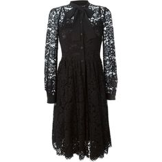 Dolce & Gabbana floral lace dress (307.410 RUB) ❤ liked on Polyvore featuring dresses, black, long sleeve knee length dresses, floral knee length dress, scalloped dress, long-sleeve floral dresses and long-sleeve lace dresses