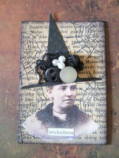 Halloween Witch Altered Art ACEO Artist Card Mixed Media