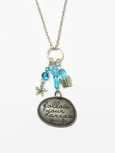 Turquoise/Aqua Quote Charm Necklace, Follow Your Arrow Inspiration Charm Necklace, Aqua Butterfly Charm Necklace, Blue Word Pendant Necklace by MyCreativeSideJewels on Etsy