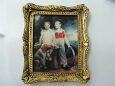 Dollhouse-Miniature-Oil-Painting-Children-of-Rev-W-M-Bradford-by-Whitford-1987